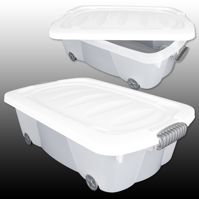 30l unterbettkommode rollen plastikbox unterbettbox truhe. Black Bedroom Furniture Sets. Home Design Ideas