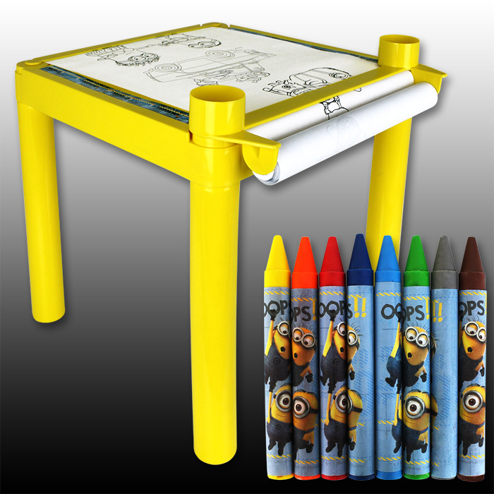 minions kindermaltisch kinder maltisch tisch malset maltische minion malen set ebay. Black Bedroom Furniture Sets. Home Design Ideas